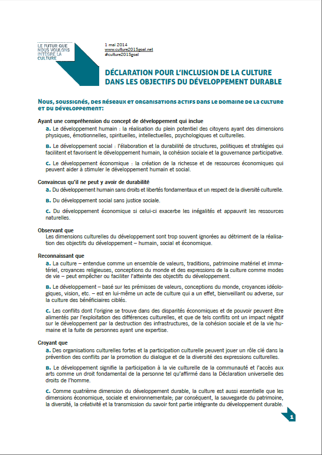 "Declaration ""Culture as a Goal in the Post-2015 Development Agenda"""