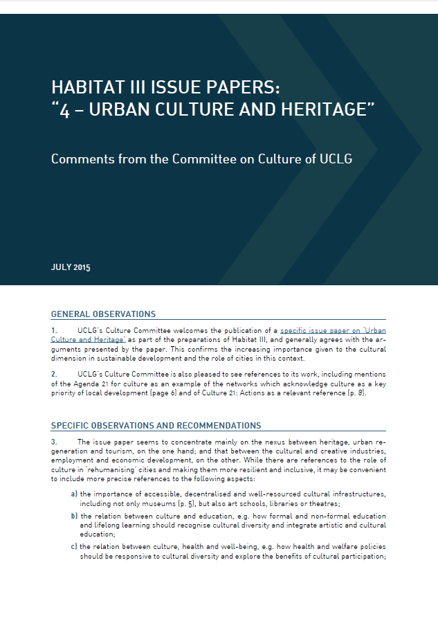"Committee on Culture of UCLG: Comments on Habitat III ""Urban Culture and Heritage"""