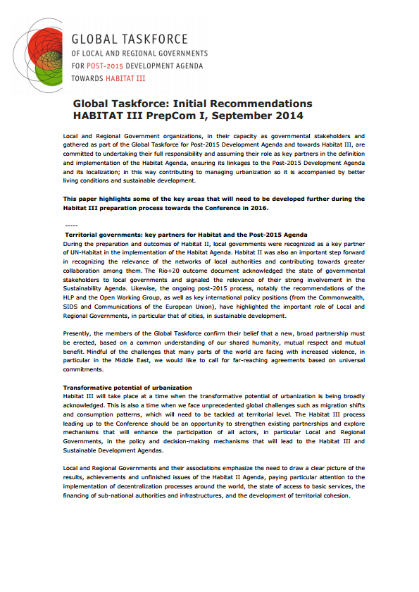 Global Taskforce: Initial Recommendations on Habitat III