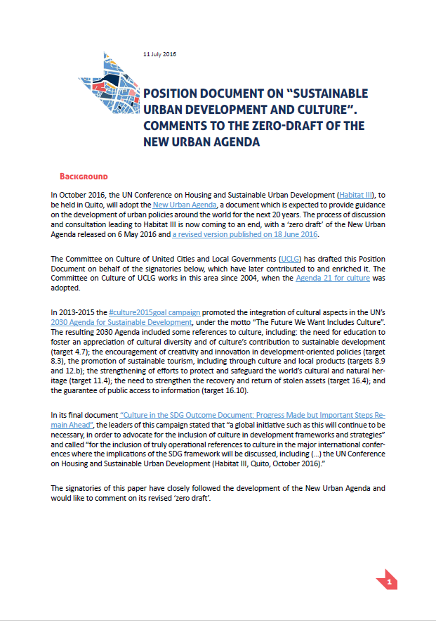 Position document on the zero-draft of the New Urban Agenda.