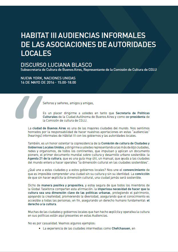 Discurso de Luciana Blasco Habitat III