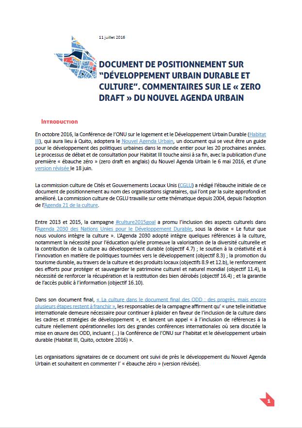 Document de positionnement sur l'ébauche zéro du Nouvel Agenda Urbain.