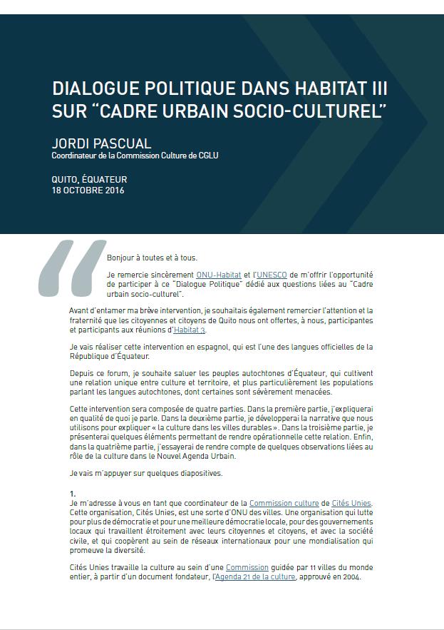 Discours de Jordi Pascual pour Habitat III